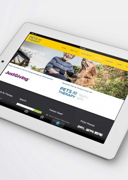 Monchu Pets as Therapy website displayed on tablet