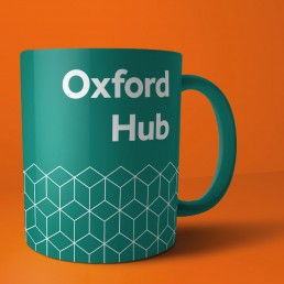 Oxford Hub branding on a mug