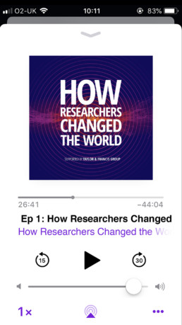 iPhone 6s Screen Displayed HRCW Podcast Supported by Taylor & Francis UK